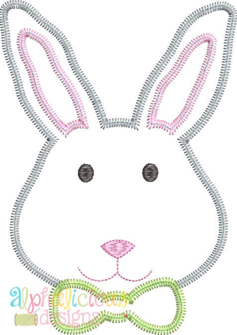Mr.Bunny with Bow Tie Applique -ZigZag - Alphalicious Designs