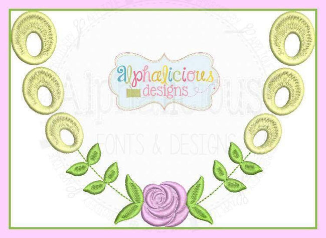 Eyelet Rose Monogram Laurel MINI - Alphalicious Designs