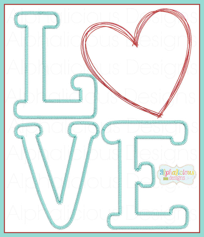 LOVE Applique with Vintage Heart