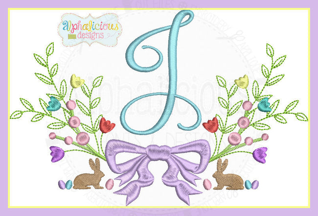 Classic Heirloom Vintage Bunny Monogram Laurel MINI - Alphalicious Designs