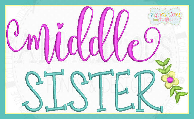 Middle Sister Laurel Embroidery - Alphalicious Designs