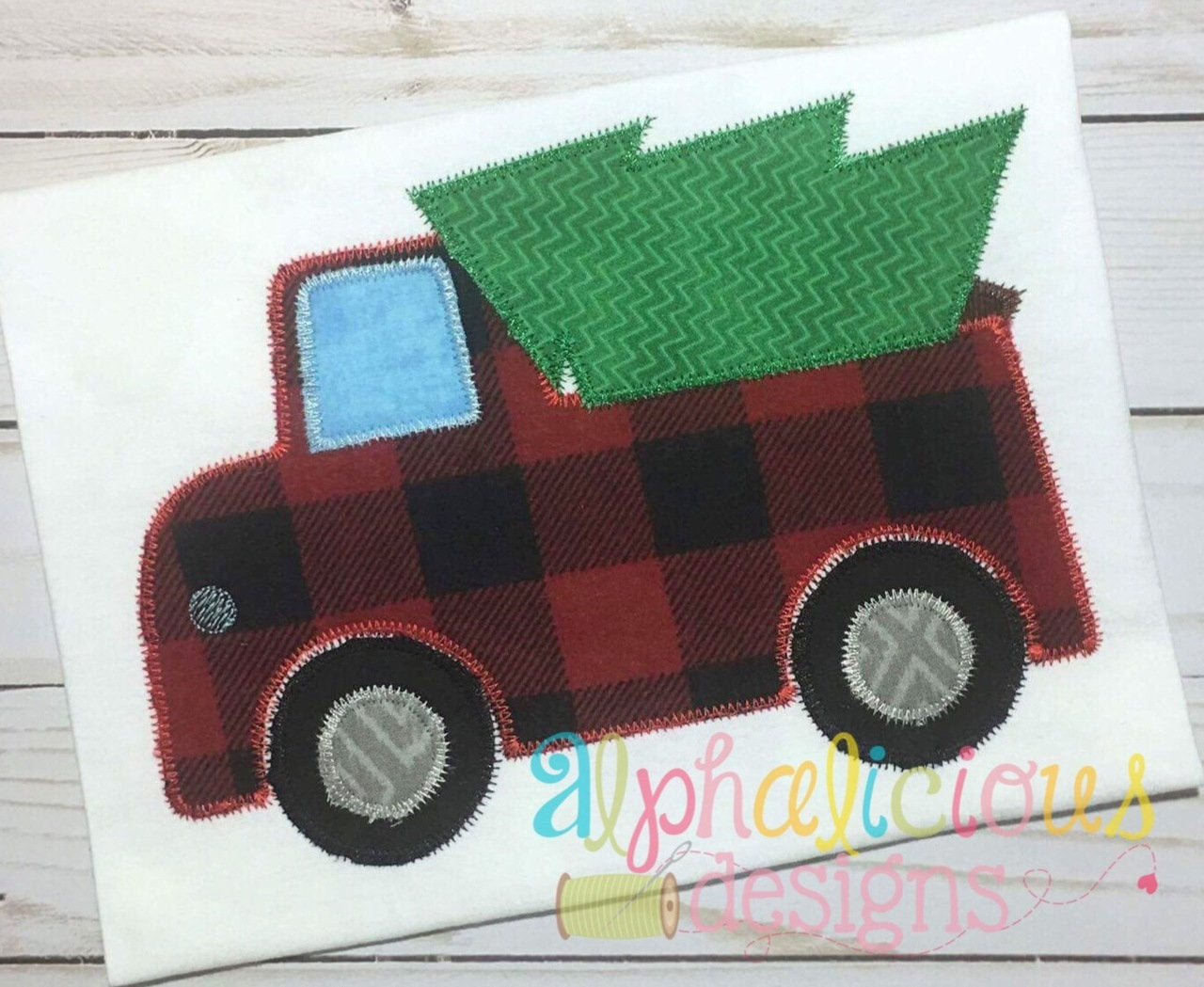 Oh christmas tree truck zigzag applique design u alphalicious designs