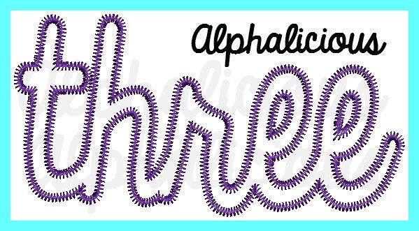 THREE- Cursive Applique Font