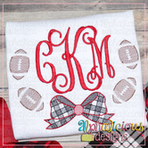 Footballs with Buffalo Check Bow-Sketch