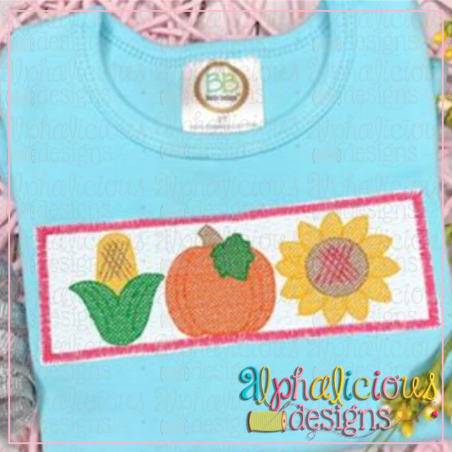 Pumpkin Patch Three in a Row- Faux Smocked - Alphalicious Designs