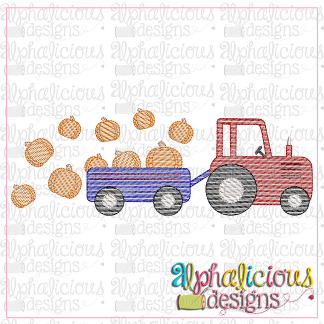 Farm Tractor with Pumpkins- Sketch - Alphalicious Designs