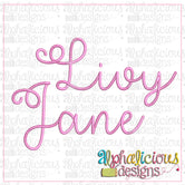Livy Jane Embroidery Font