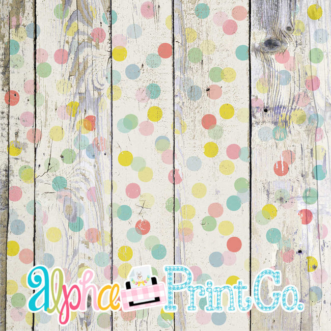 Backdrop- Distressed Wood-Polka Dot-Confetti - Alphalicious Designs