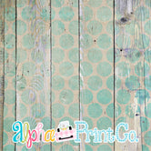 Backdrop- Distressed Wood-Polka Dot-Turquoise