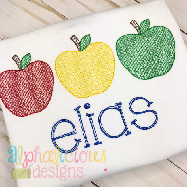 Apple Three In A Row-Sketch - Alphalicious Embroidery Designs