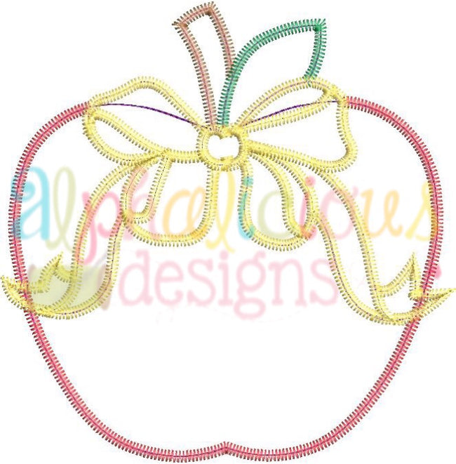 Apple with Bow-Zigzag - Alphalicious Designs