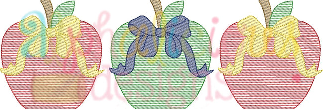 Apple With Bow Three In A Row-Sketch - Alphalicious Designs