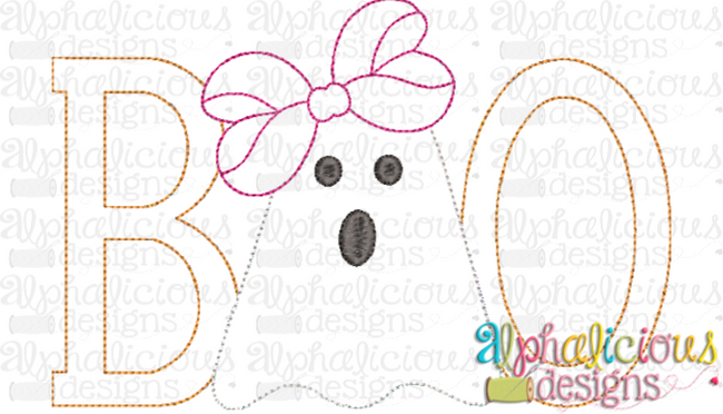 BOO with Bow-Triple Bean - Alphalicious Designs