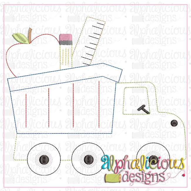 Back To School Dump Truck-Triple Bean - Alphalicious Designs