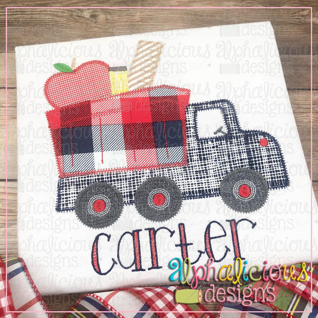 Back To School Dump Truck-Zig Zag - Alphalicious Designs