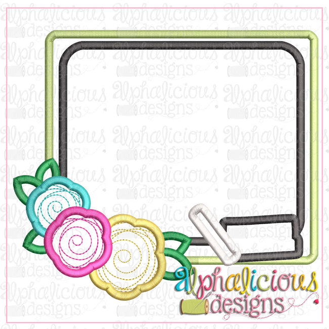 Back To School Floral Blackboard-Satin - Alphalicious Designs