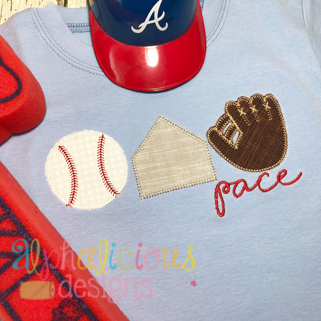 Baseball-Base-Glove Three In A Row-Blanket - Alphalicious Embroidery Designs