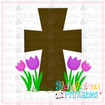 Cross with Flowers-Printable