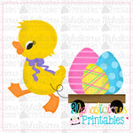 Duck with Bow and Cart-Eggs-Printable