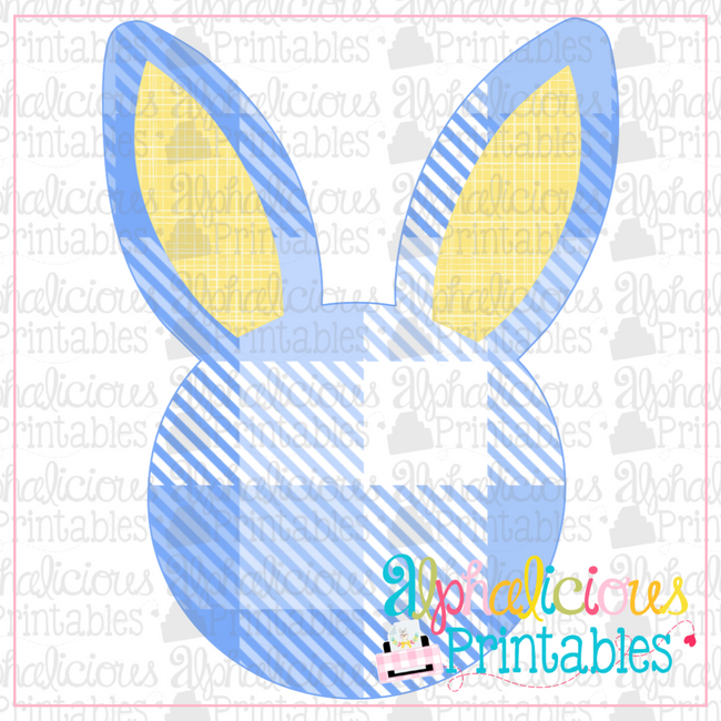 Bunny Head-Buffalo Plaid-Printable