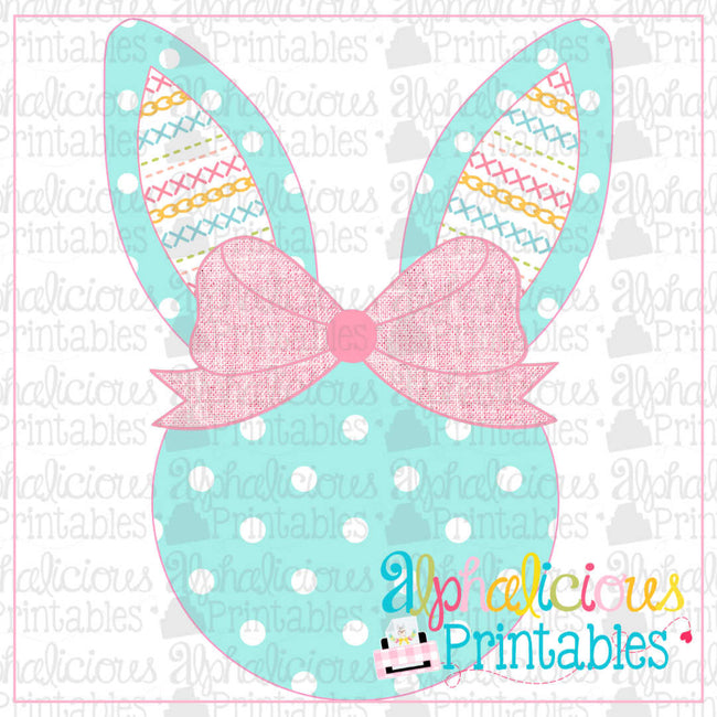 Bunny Head With Bow-Linen Stitches-Printable - Alphalicious Designs