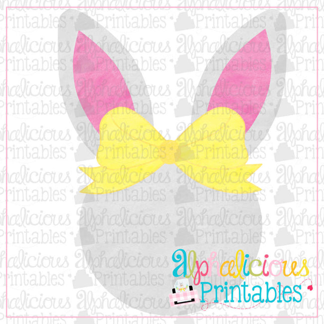 Bunny Head With Bow-Watercolor-Printable - Alphalicious Designs