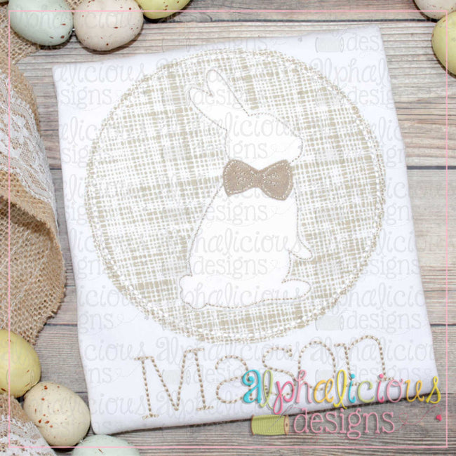 Bunny In Circle Frame-Triple Bean - Alphalicious Designs