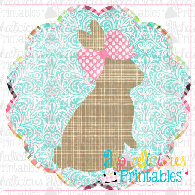 Bunny In Scallop Circle Frame Damask-Printable - Alphalicious Designs