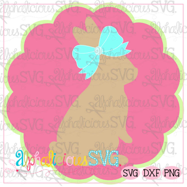 Bunny In Scallop Circle Frame SVG - Alphalicious Designs