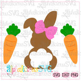 Bunny with Bow and Carrots- SVG