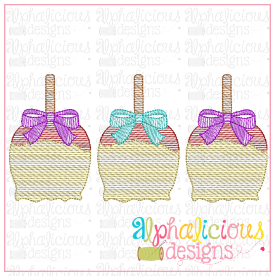 Candy Apple with Bows Three In a Row-Scribble - Alphalicious Embroidery Designs