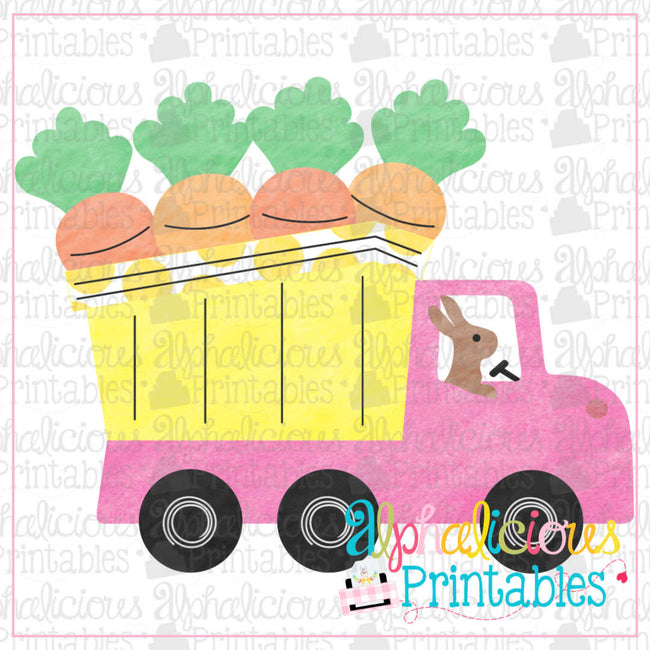 Carrot Dump Truck-Watercolor Pink-Printable