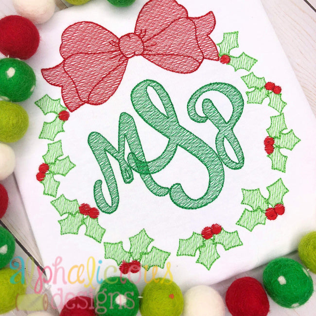 Christmas Holly Wreath-Sketch - Alphalicious Embroidery Designs