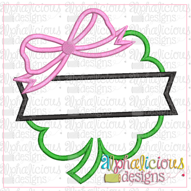 Clover with Bow and Banner-Satin - Alphalicious Designs