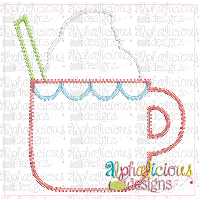Cocoa Cup with Scallops-ZigZag - Alphalicious Embroidery Designs