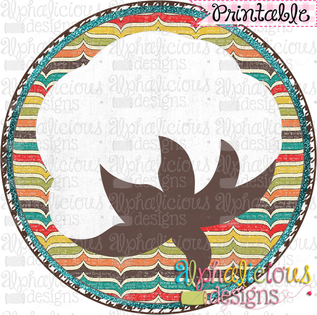 Cotton Boll in Circle Frame-Printable - Alphalicious Designs