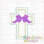 Cross with Bow Ornament - Alphalicious Designs