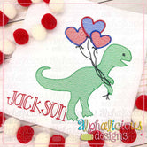 Dino with Heart Balloons