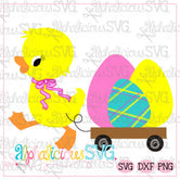 Duck with Bow and Wagon-Easter- SVG