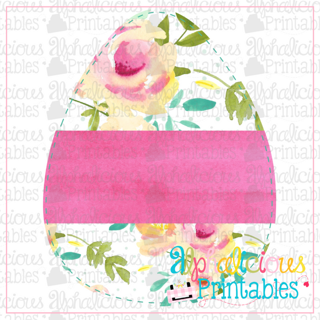 Egg with Banner-Floral-Printable - Alphalicious Designs