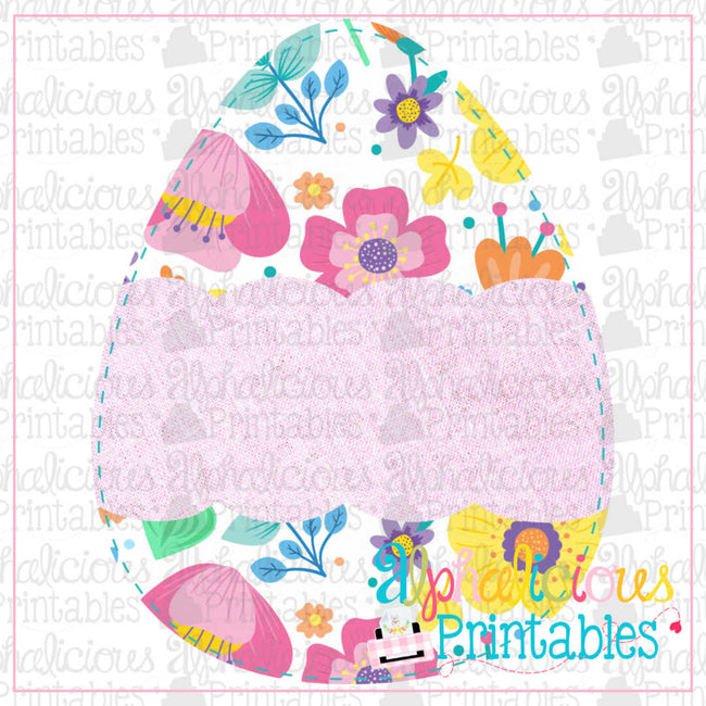 Egg with Scallop Banner-Floral Linen-Printable