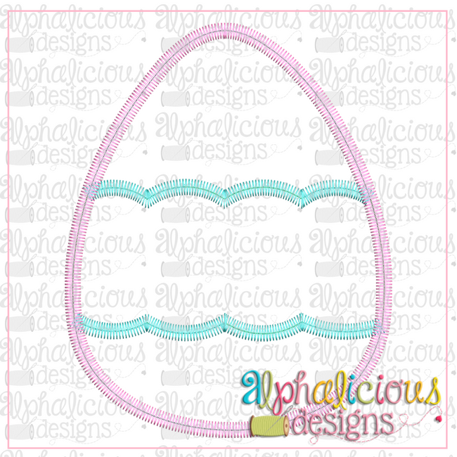 Egg with Scallop Banner-Zig Zag - Alphalicious Designs