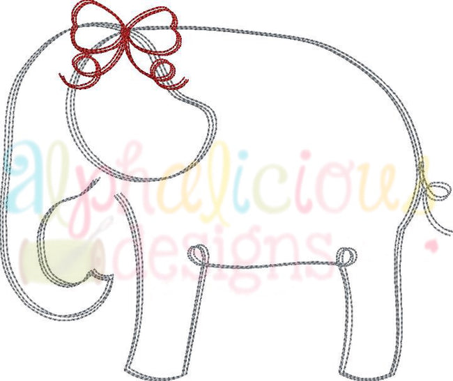 Elephant with Bow- Scribble - Alphalicious Designs