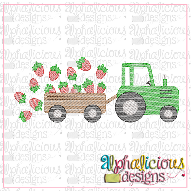 Farm Tractor with Strawberries-Sketch - Alphalicious Designs