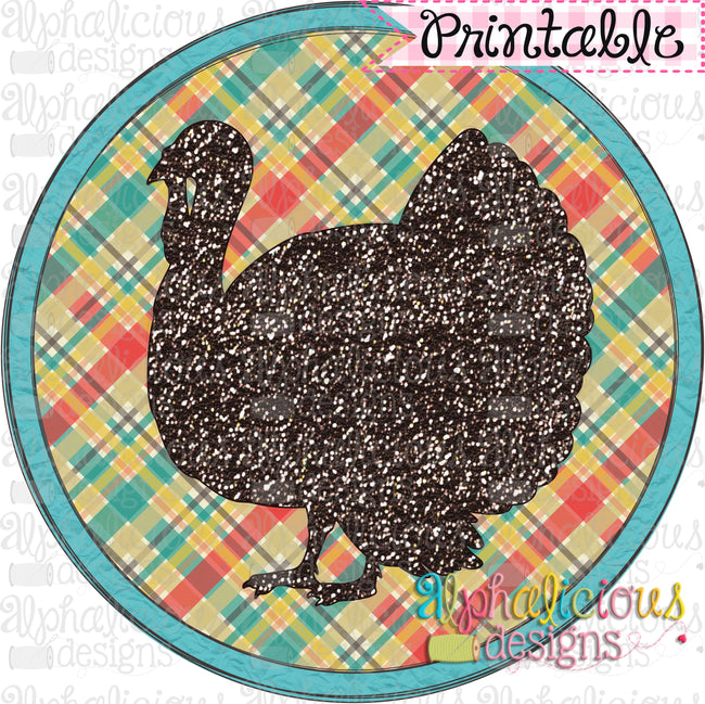Farm Turkey in Circle Frame-Printable - Alphalicious Designs
