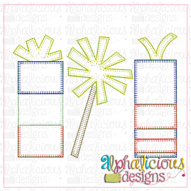 Fireworks Three In A Row-Blanket - Alphalicious Designs