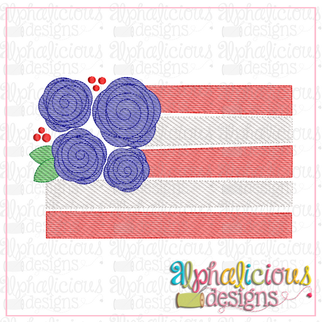 Floral Flag-Sketch - Alphalicious Designs