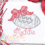Football with Bow-ZigZag - Alphalicious Embroidery Designs