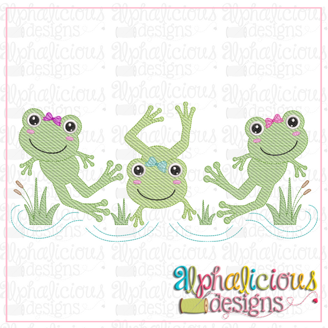 Frogs with Bows-Three In A Row-Sketch - Alphalicious Designs