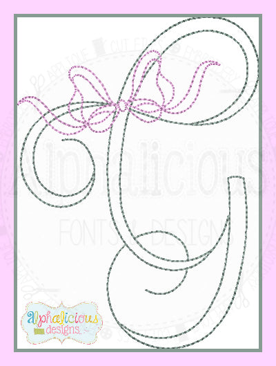 Vintage Bow Embroidery Font - Alphalicious Embroidery Designs